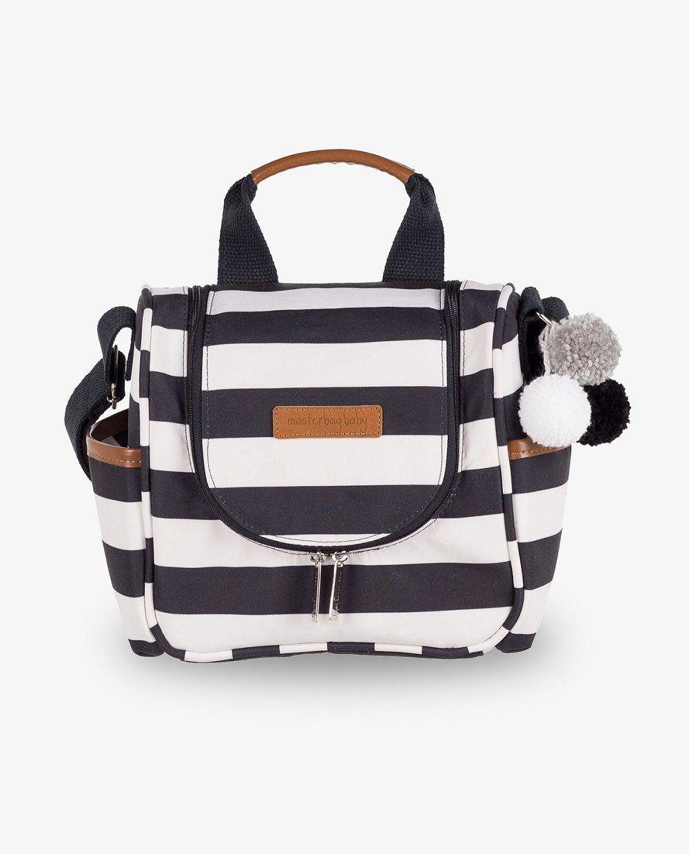 Frasqueira maternidade térmica Emy Preta e branca Brooklin - Masterbag Baby