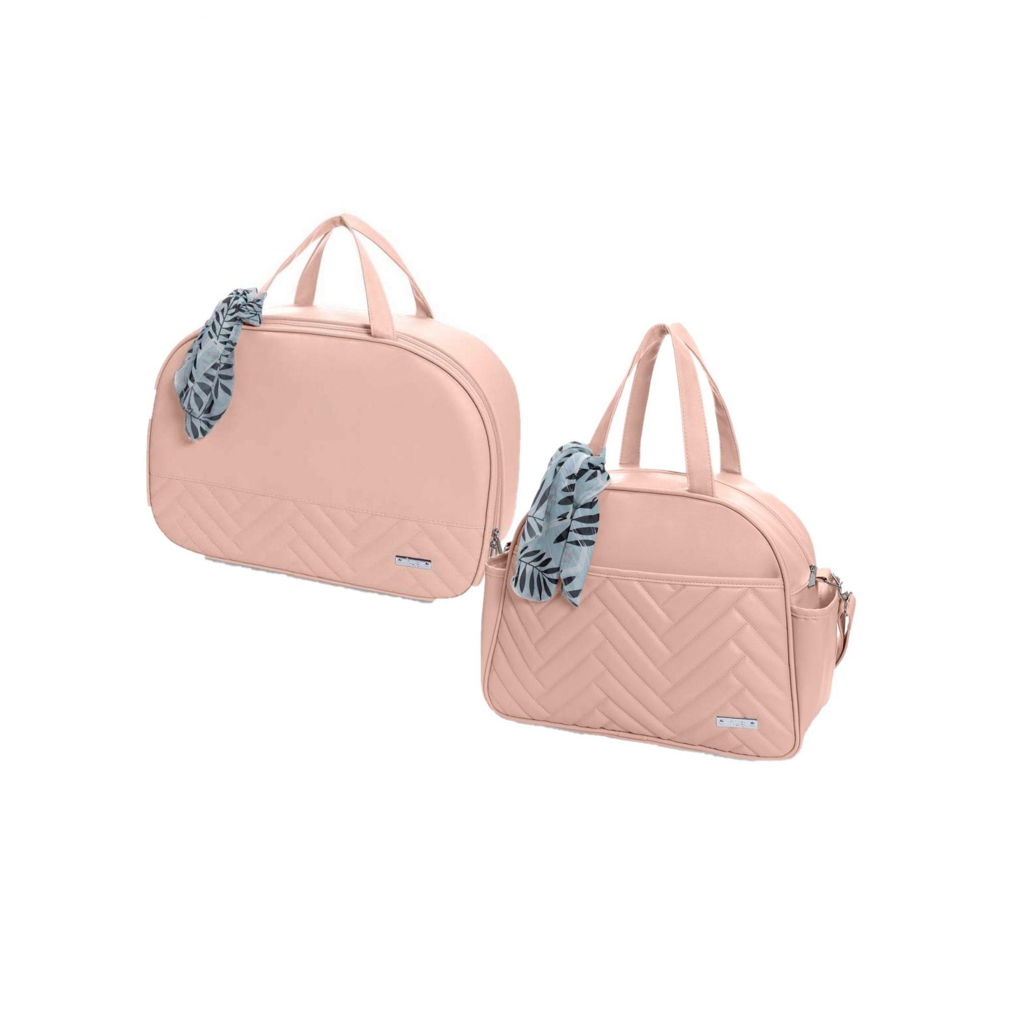 Kit bolsa de maternidade Rosa Munique - 2 pçs - Hug (bolsa e mala)