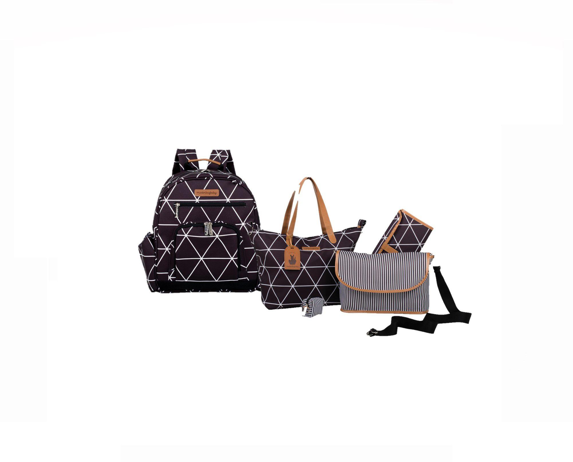Kit Bolsa de maternidade Sofia 4x1 e Mochila preta Manhattan - Masterbag Baby