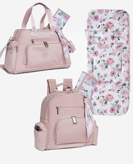 Kit Bolsa e mochila maternidade com protetor de carrinho flora rosa - Masterbag Baby