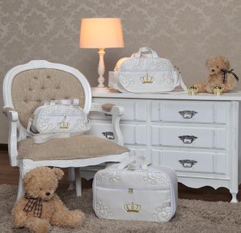 Kit Bolsa  Maternidade Glamour Branco e Dourado  03 pçs