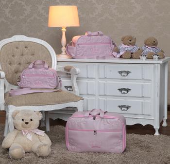 Kit Bolsa  Maternidade Glamour Rosa 03 pçs