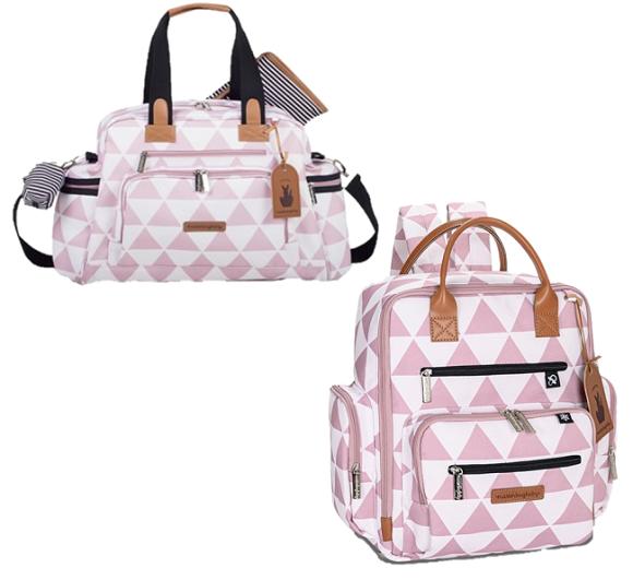Kit Bolsa maternidade Manhattan Bolsa e  mochila Rosa - Masterbag Baby