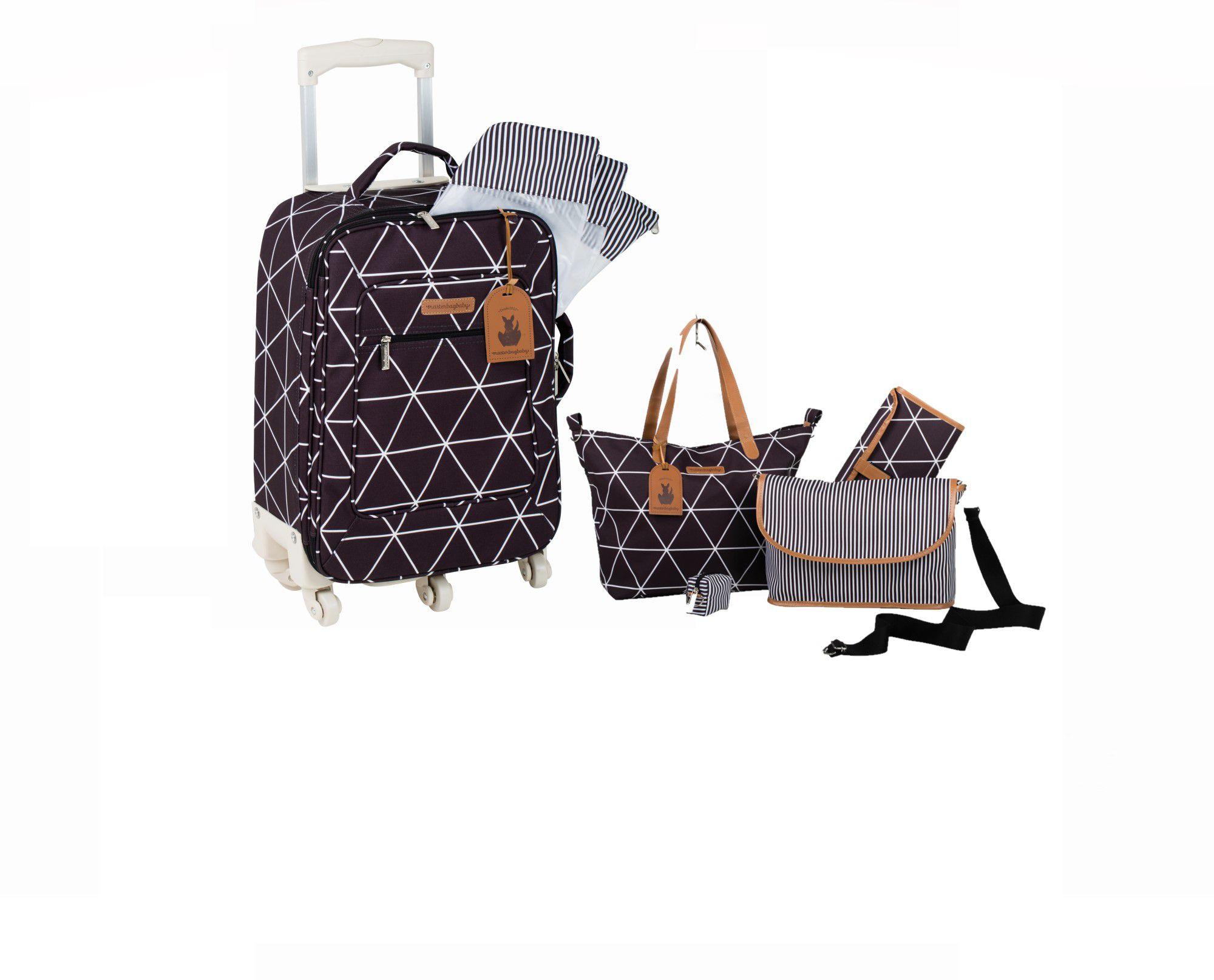 Kit bolsa maternidade Sofia 4x1 e Mala de rodinha preta Manhattan - Masterbag Baby