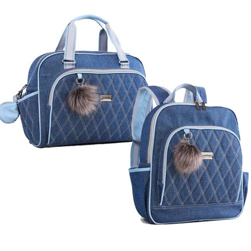 Kit de bolsa e mochila maternidade Havana Azul - Just Baby