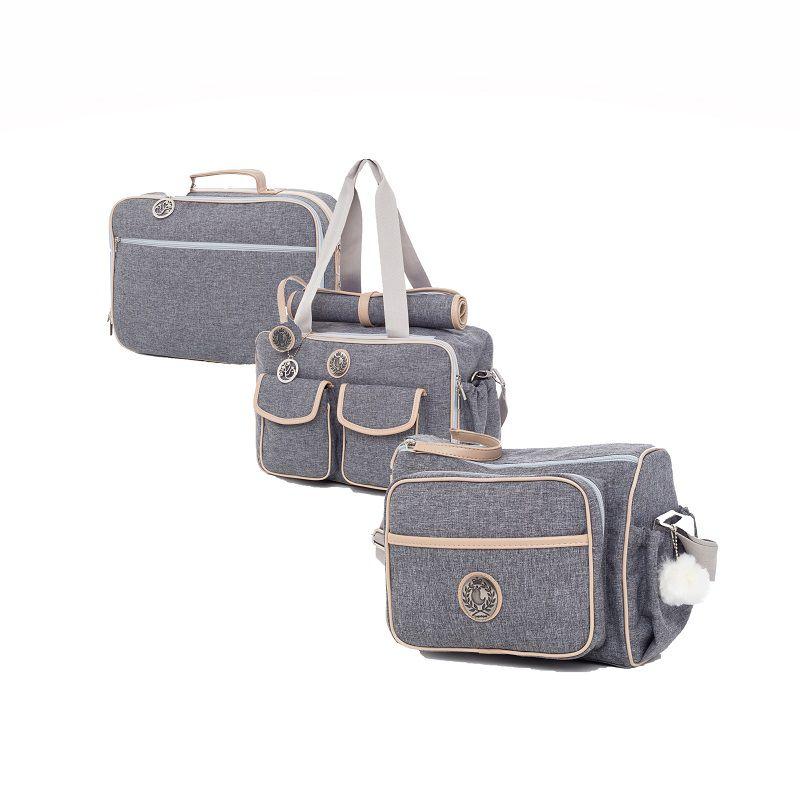 Kit bolsa maternidade Dallas Cinza com azul 3pcs bolsa, mala e frasqueira - Lequiqui