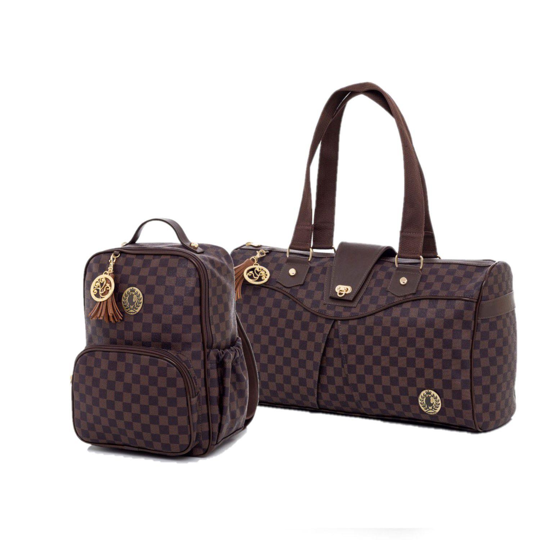 Kit de bolsas Maternidade escocesa Marrom 2pcs Bolsa viagem e mochila - Lequiqui