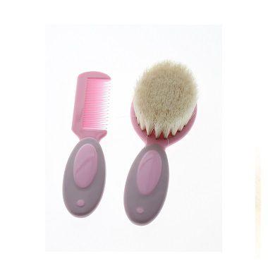Kit de pente e escova com cerdas naturais Pink