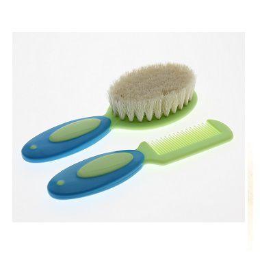 Kit de pente e escova com cerdas naturais verde
