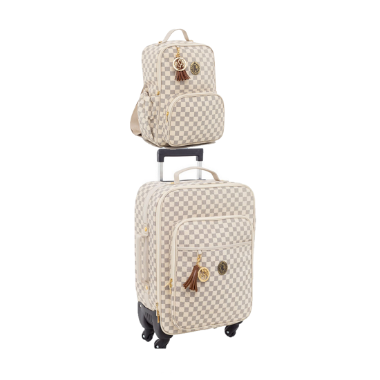 Kit mala de maternidade com rodinha e mochila escocesa caramelo - Lequiqui