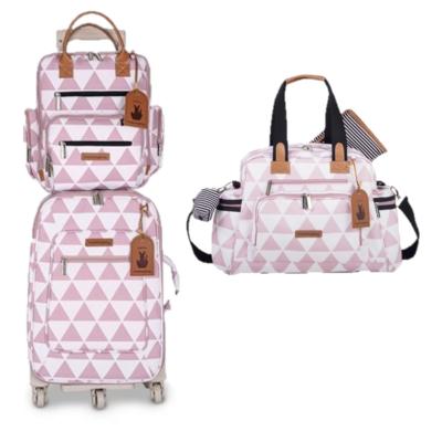 Kit mala de rodinha com bolsa de maternidade e mochila Manhattan rosa - Masterbag Baby