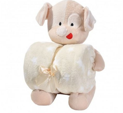 Manta de bebê com bichinho de pelúcia - Cachorrinho