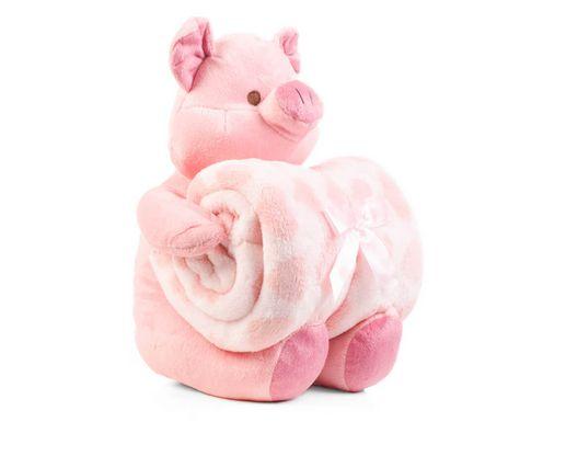 Manta de bebê com bichinho de pelúcia - Porquinho