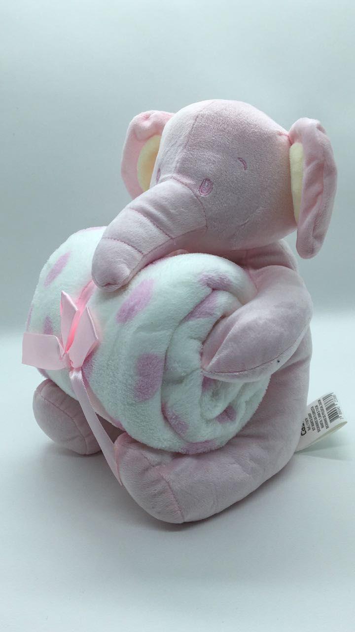 Manta de bebê com bichinho de pelúcia - Elefante
