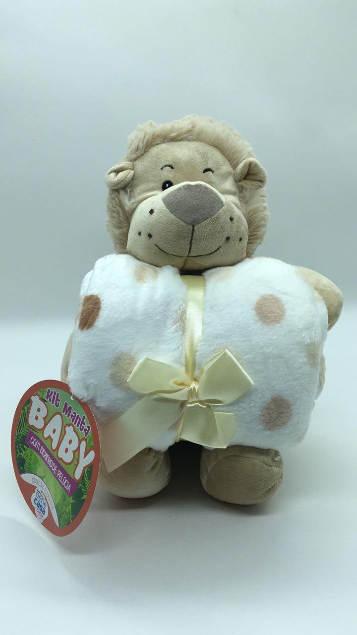 Manta de bebê com bichinho de pelúcia - Leão