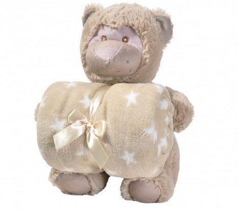 Manta de bebê com bichinho de pelúcia - Macaco marrom