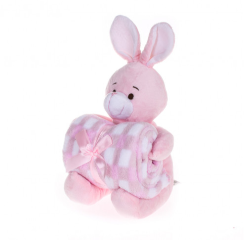 Manta de bebê com bichinho de pelúcia - Coelho rosa