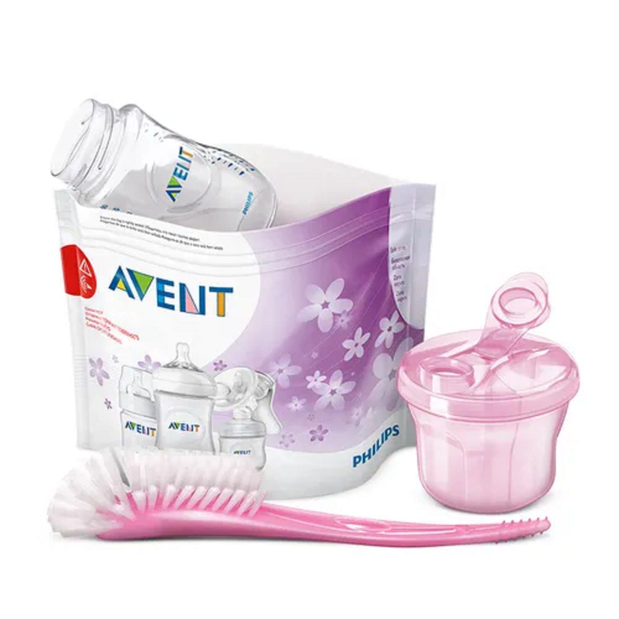 kit Saco Esterilizador micro-ondas + dosador de leite rosa + escova rosa - Philips Avent