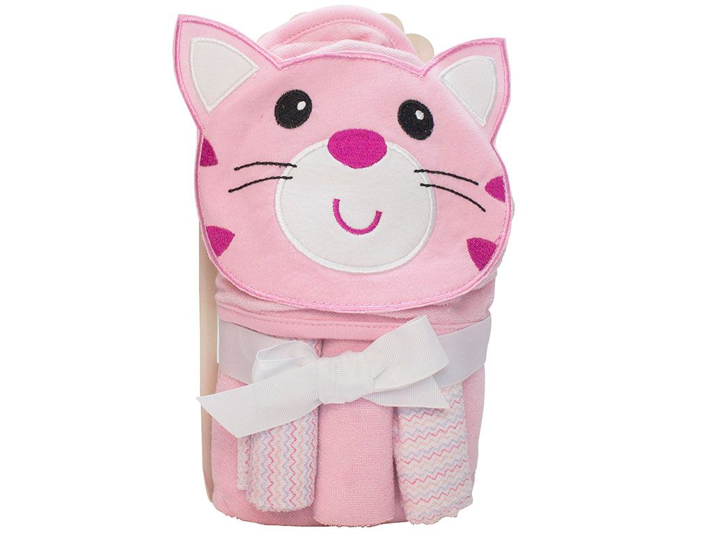 Toalha de banho para bebê com capuz 66x76 com 3 Toalhas de boca Gato Rosa