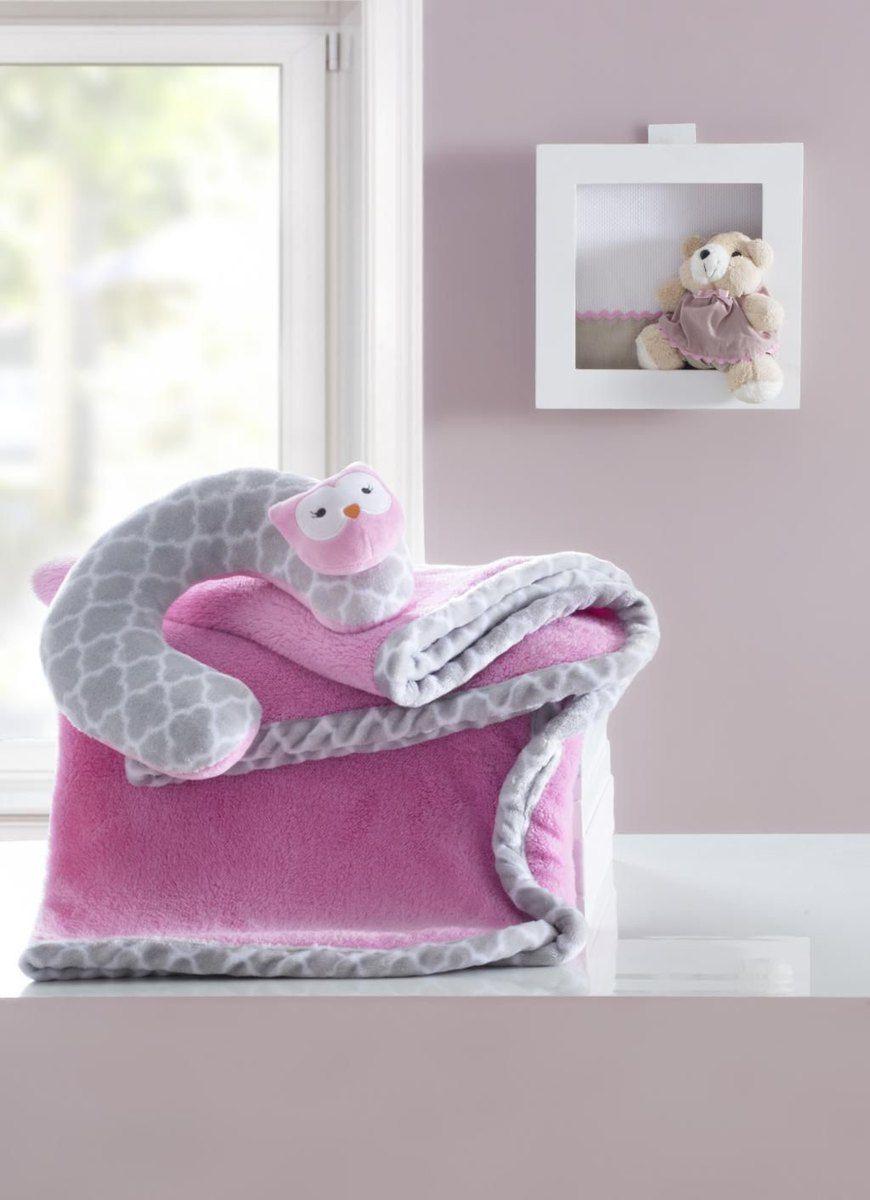 Manta bebê com almofada de pescoço encanto rosa