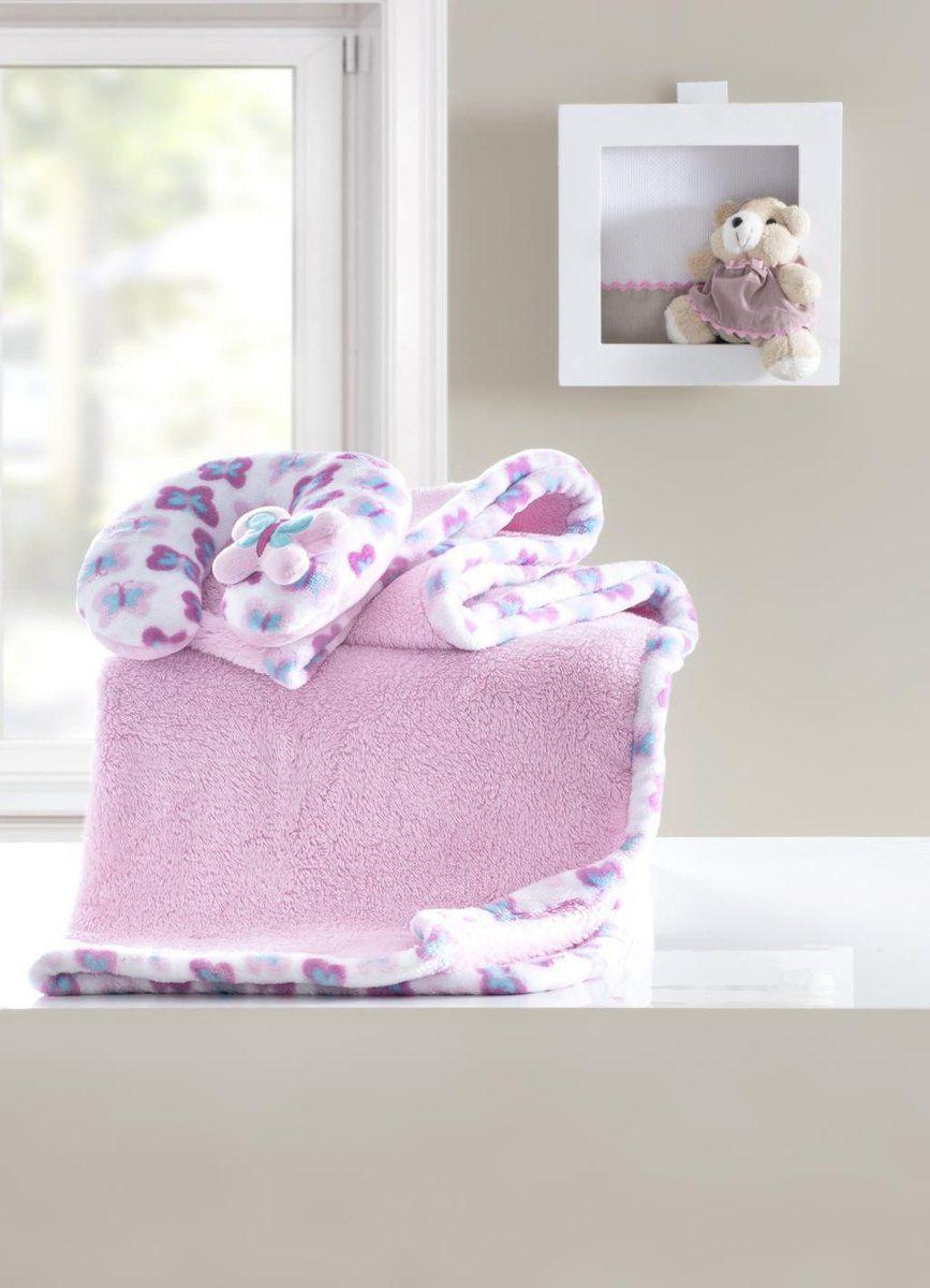 Manta bebê com almofada de pescoço fantasia rosa
