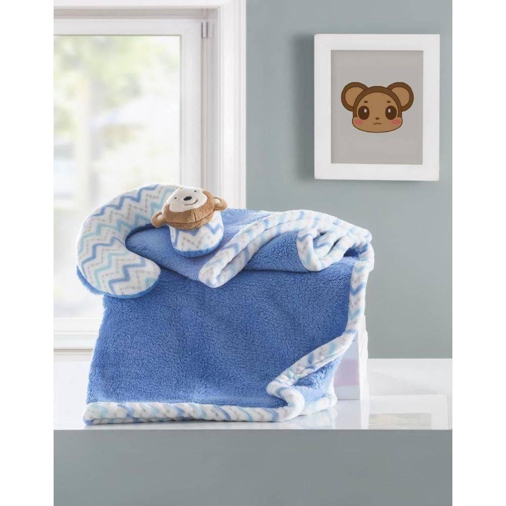 Manta bebê com almofada de pescoço macaco azul