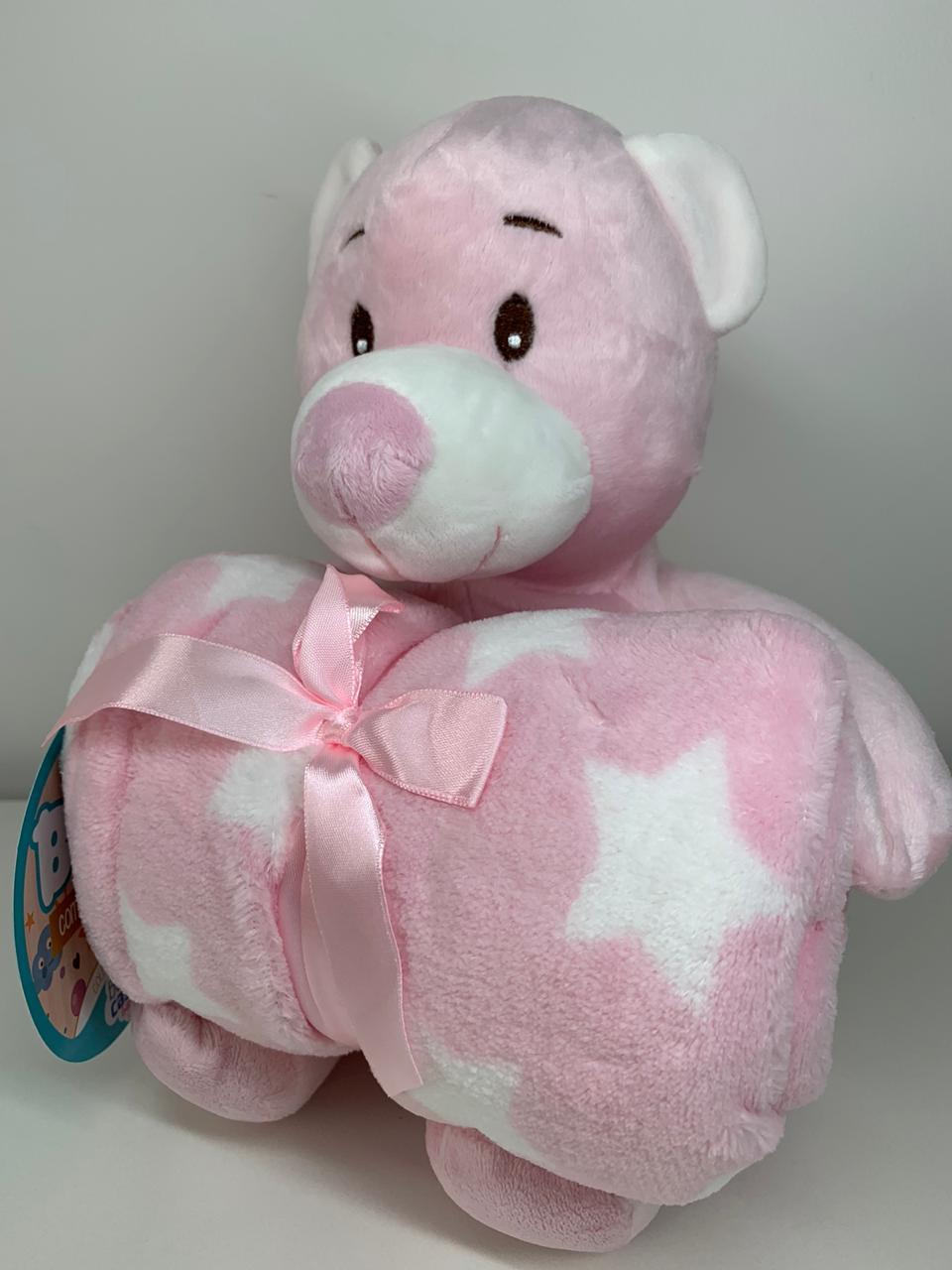 Manta com bichinho de pelúcia - Coleção carinhosos Urso rosa