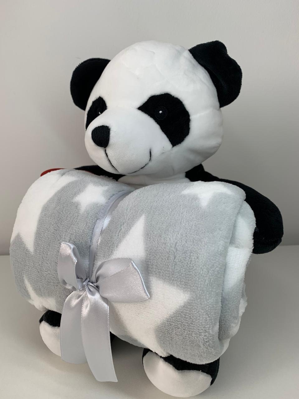 Manta com bichinho de pelúcia - Coleção Floresta Urso Panda