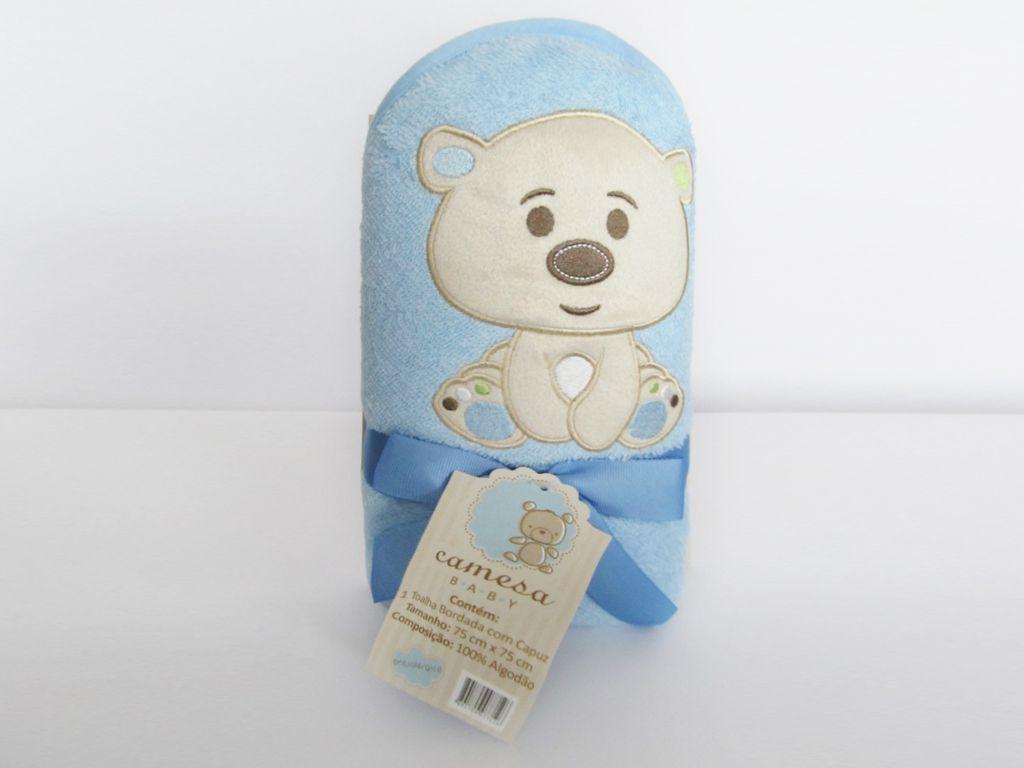 Toalha de banho para bebê com capuz bordada Urso Azul