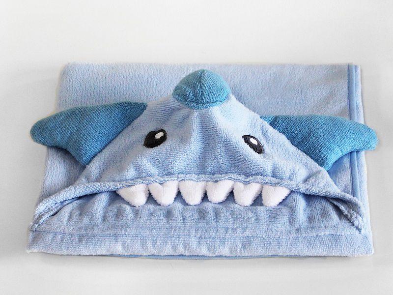 Toalha de bebê aconchego Tubarão Azul 80cm x 100cm