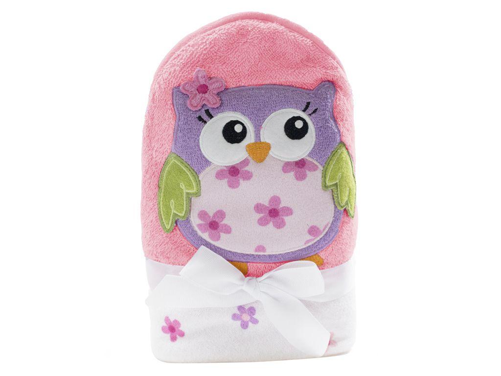 Toalha de banho para bebê conforto com capuz Coruja Rosa 76cm x 76cm