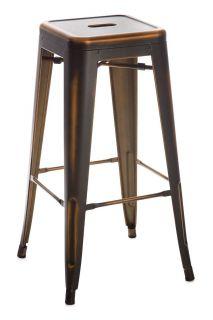Banqueta Alta de Aço com Pintura em Bronze Envelhecido - Tólix