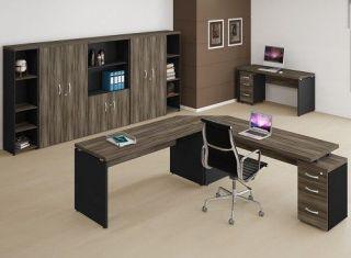 Mesa em L de 40 mm com Gaveteiro Embutido - Linha 40
