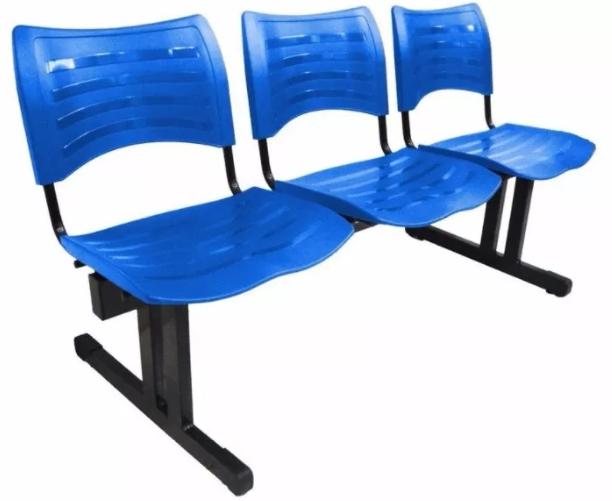 Cadeira Plastica de Espera 3 Lugares -Izo  - Tinay Móveis Ltda