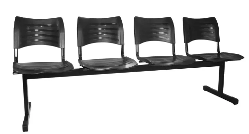 Cadeira Plastica de Espera 4 Lugares -Izo  - Tinay Móveis Ltda