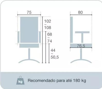 Cadeira Presidente Istambul 180kg  - Tinay Móveis Ltda