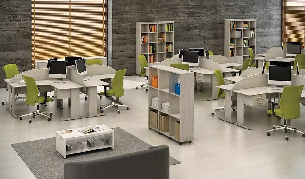 Estação de Trabalho com 4 Mesas de 140 x 140 , Gaveteiro e Divisórias - Uno