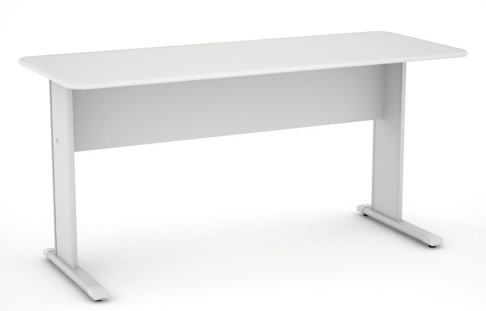 Mesa de Escritório Reta de 15 mm com Pés de Aço Cristal 120 x 60 - Linha Light