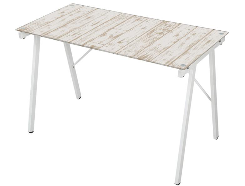 Mesa Escrivaninha Tampo de Vidro Estampa Madeira