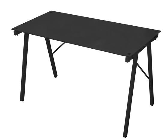 Mesa Escrivaninha Tampo de Vidro Preta