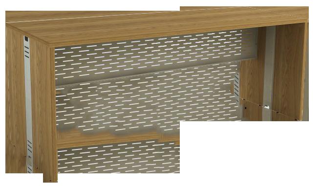 Mesa Reta com Passa Fios de 25 mm 60 cm de Profundidade - Aço - Attuale