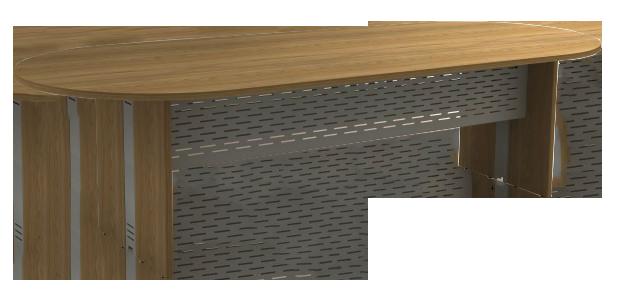 Mesa Reunião Oval de 25 mm - Saia de Aço - Attuale  - Tinay Móveis Ltda