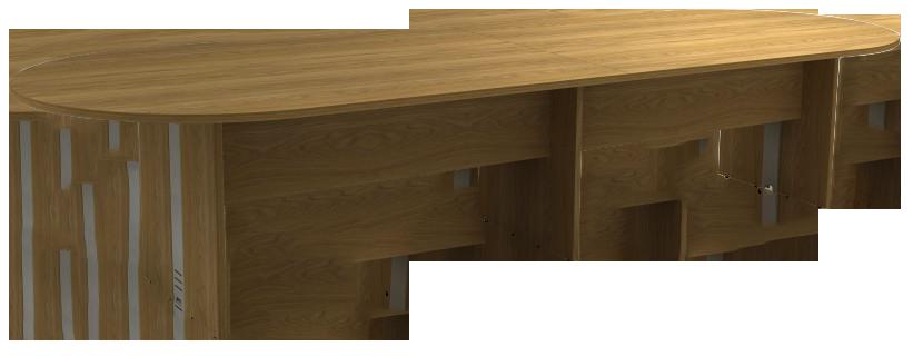 Mesa Reunião Oval Bipartida de 25 mm - Saia de Madeira - Attuale