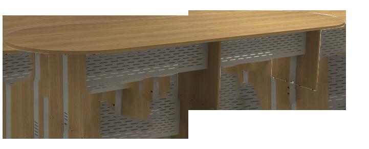 Mesa Reunião Oval Bipartida de 25 mm - Saia de Aço - Attuale  - Tinay Móveis Ltda