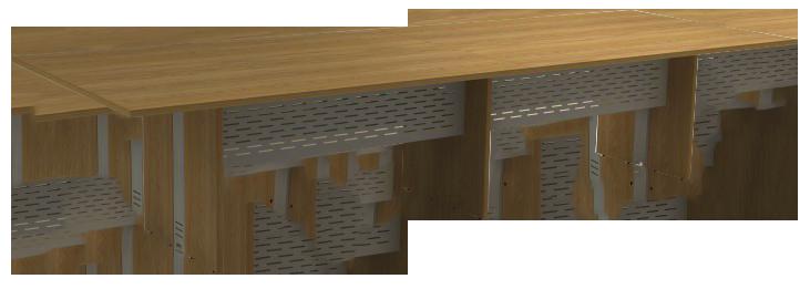 Mesa Reunião Retangular Bipartida de 25 mm - Saia de Aço - Attuale  - Tinay Móveis Ltda
