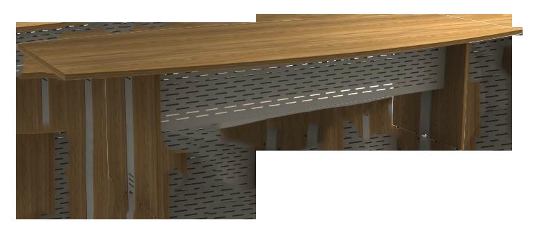 Mesa Reunião Semi-Oval de 25 mm - Saia de Aço - Attuale