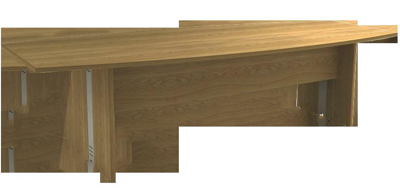 Mesa Reunião Semi-Oval de 25 mm - Saia de Madeira - Attuale