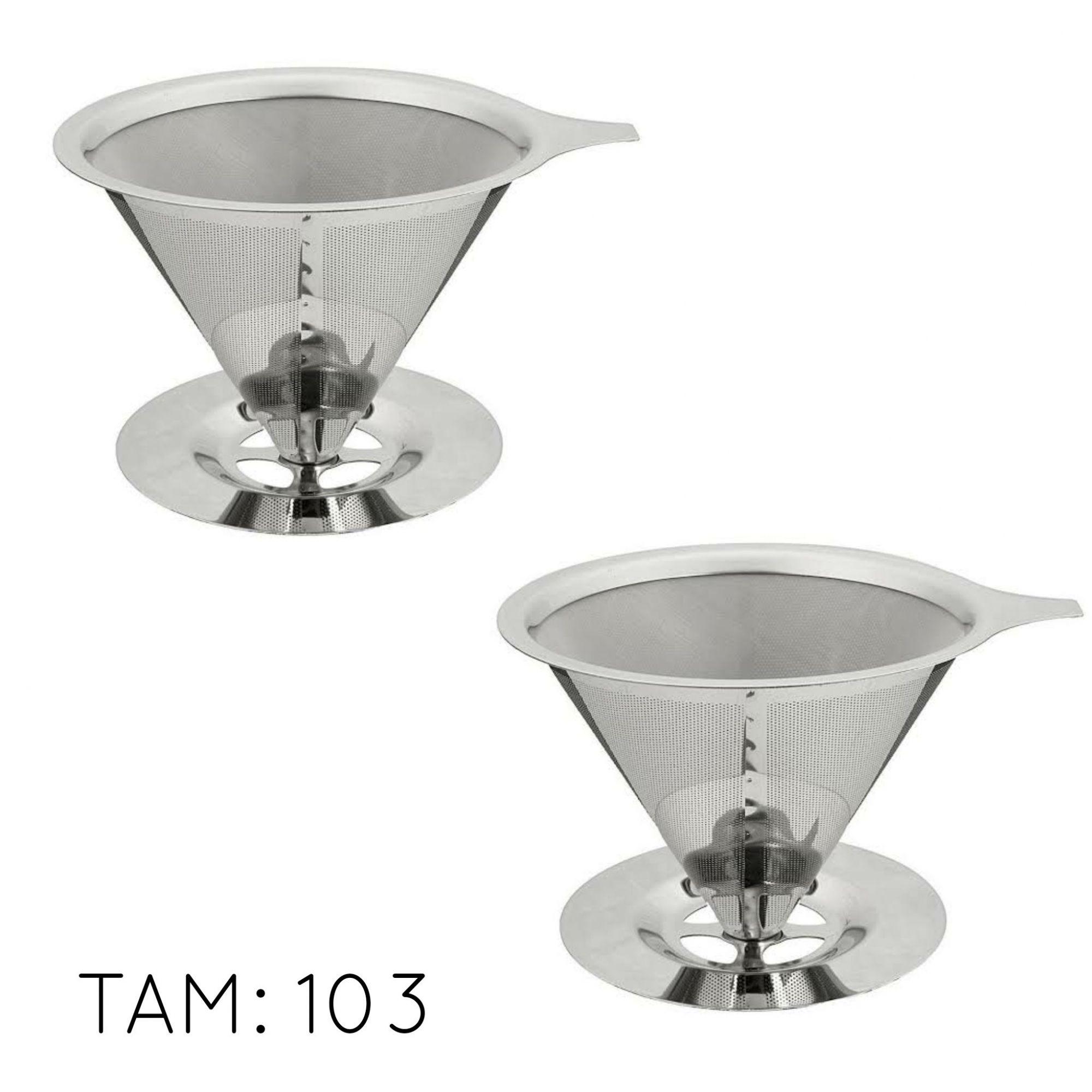 02 Coador Filtro de Café Pour Over em Aço Inox Tam. 103