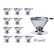 10 Coadores de Café Pour Over Inox Reutilizáveis - Dispensa uso de filtro de papel