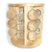 Porta tempero de madeira redondo - 12 potes